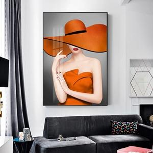 Tranh thời trang, cô gái mặc đồ màu cam