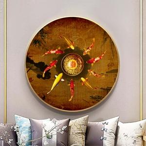 Tranh tròn treo tường cá chép và hoa sen