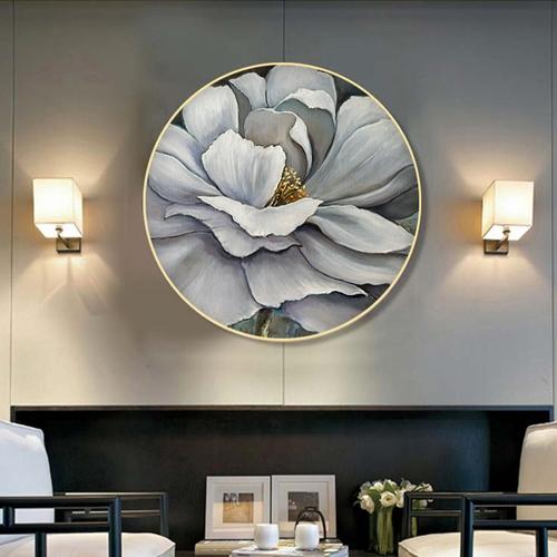 Tranh tròn treo tường bông hoa trắng