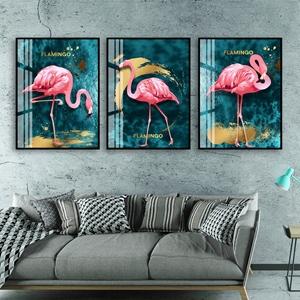 Bộ 3 tranh chim hồng hạc treo tường đẹp