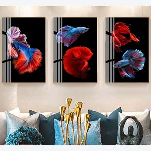 Bộ 3 tranh cá chọi sắc màu