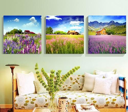 Tranh bộ 3 bức, phong cảnh thiên nhiên tuyệt đẹp