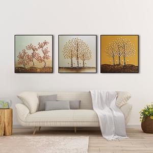 Tranh bộ 3 bức, cây hoa nghệ thuật