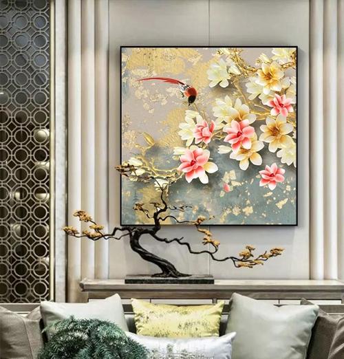 Tranh bông hoa nở và chim trang trí tường