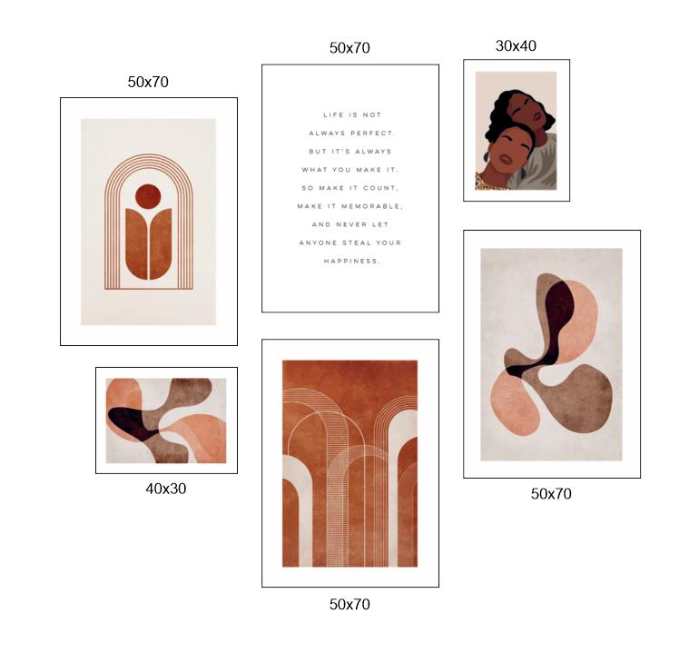 Tranh bộ 6 bức, người và hình line art