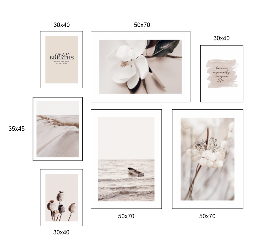 Set 7 tranh hoa trang trí phong cách châu âu sang trọng