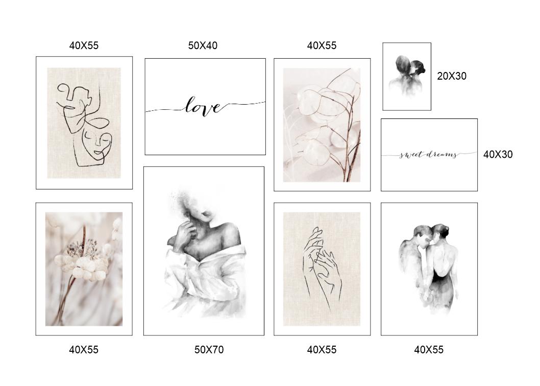 Set 9 tranh hình line art người nghệ thuật độc đáo