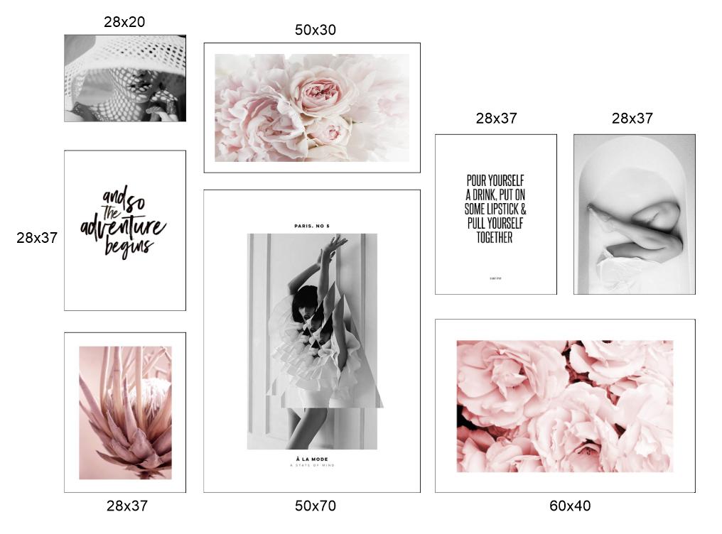 Bộ 8 bức tranh hoa và người theo phong cách Bắc Âu