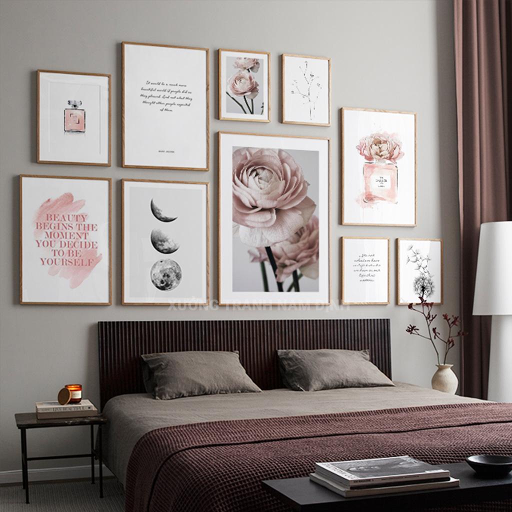 Set 10 bức tranh hoa lá và hình line art theo phong cách Bắc Âu