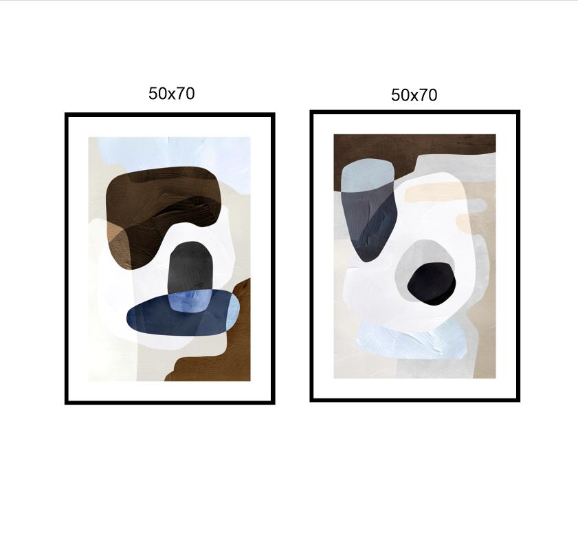 Tranh trừu tượng, bộ 2 bức nghệ thuật