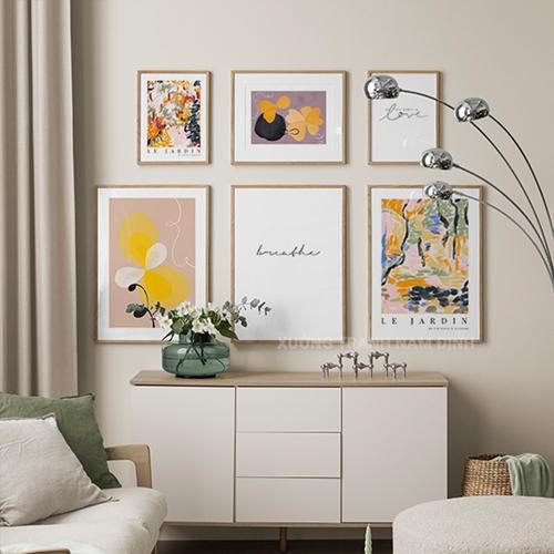 Tranh bộ 6 bức, trừu tượng sắc màu độc đáo