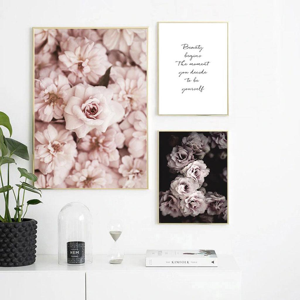 Tranh bộ hoa và chữ