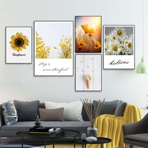 Bộ tranh decor hoa vàng