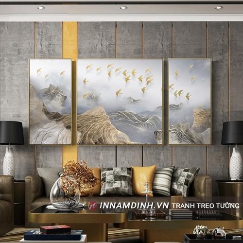 Bộ ba tranh trừu tượng đàn chim vàng
