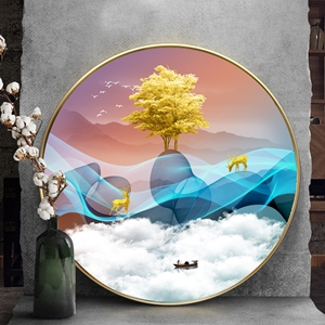 Tranh tròn, cây tuần lộc vàng dải vân xanh