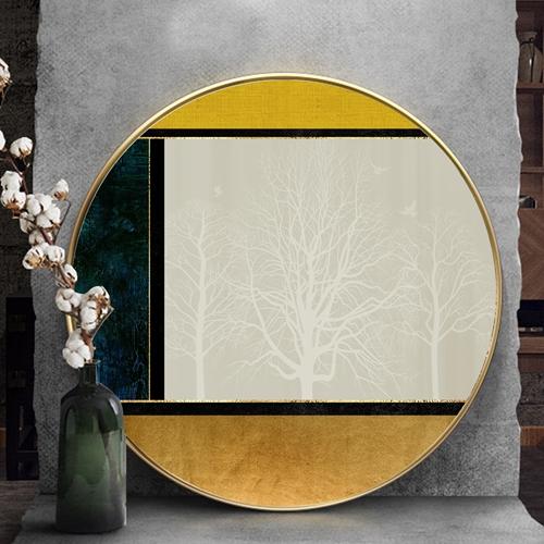 Tranh tròn, cành cây màu trắng trừu tượng