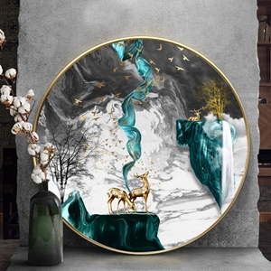 Tranh tròn, dải vân và hươu trừu tượng