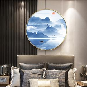 Tranh tròn, sơn thủy hữu tình dãy núi màu xanh