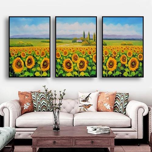 Tranh bộ 3 bức, hoa hướng dương