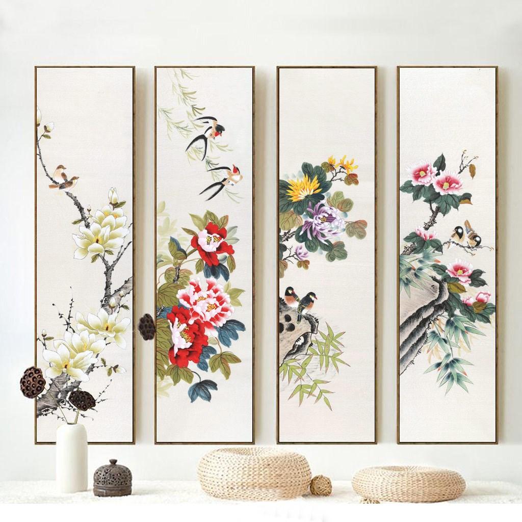 Tranh tứ quý, bộ 4 bức tranh hoa và chim