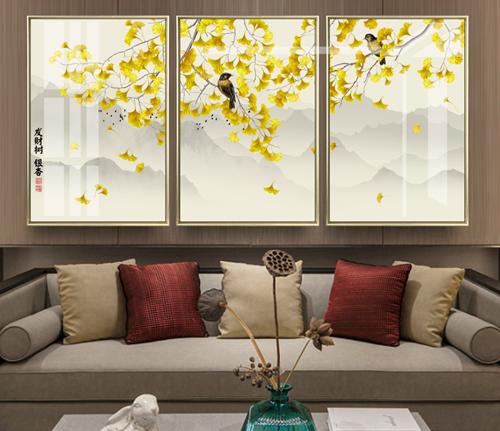 Bộ 3 tranh hoa vàng bên chú chim hót ca
