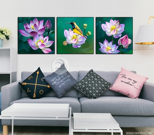 Tranh hoa sen, bộ 3 bức đẹp, ý nghĩa