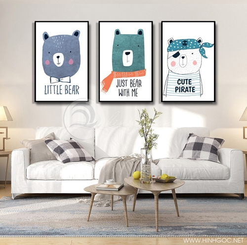 Tranh phòng ngủ, bộ 3 bức con vật dễ thương