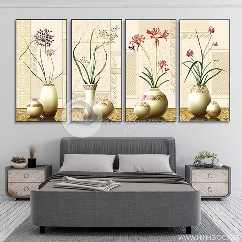 Tranh tứ quý, bộ 4 bức lọ hoa