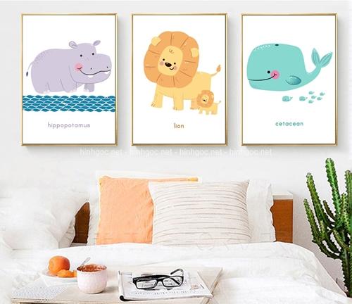 Tranh bộ 3 bức, trang trí phòng ngủ cho bé
