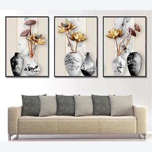 Tranh bộ 3 lọ hoa sen đẹp, sang trọng