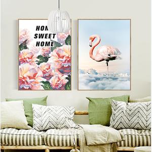 Tranh bộ 2 bức chim và hoa