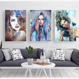 Tranh bộ 3 bức tranh chân dung cô gái