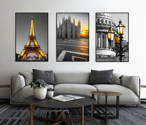 Tranh bộ 3 bức tháp Eiffel