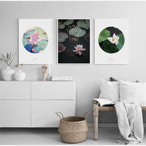 Tranh bộ 3 bức hoa sen trắng