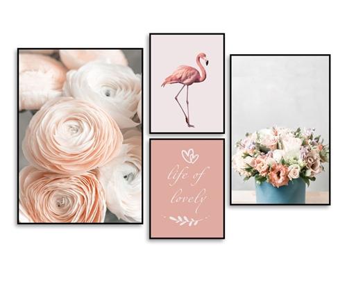 Tranh bộ 4 bức, hoa và chim hồng hạc