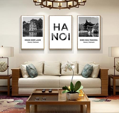 Tranh bộ 3 bức, cảnh hồ gươm Hà Nội