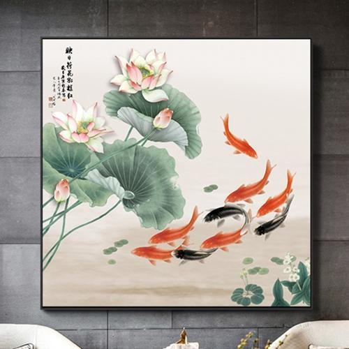 Tranh cá chép và hoa sen đẹp