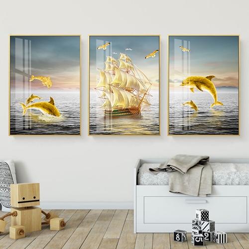 Tranh bộ 3 bức cá voi và thuyền buồm