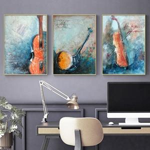 Tranh bộ 3 bức, cây đàn ghi ta và nhạc cụ
