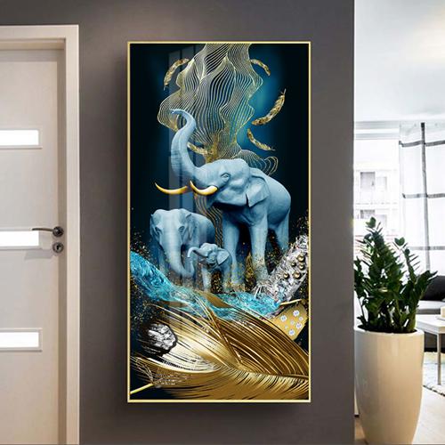 Tranh treo tường, con voi xanh và lông vũ