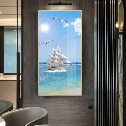 Tranh thuận buồm xuôi gió, cảnh biển và chim bay
